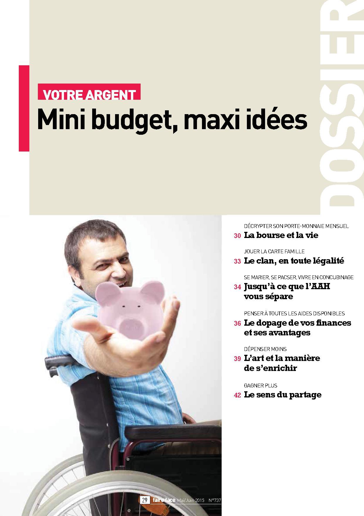 Couverture dossier Votre argent Mini budget, maxi idées Magazine Faire Face Mai Juin 2015 (N°737)