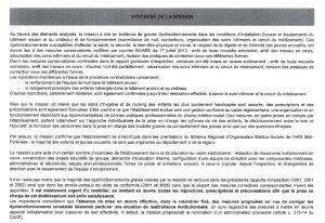 synthese de la mission rapport ARS Moussaron 072013