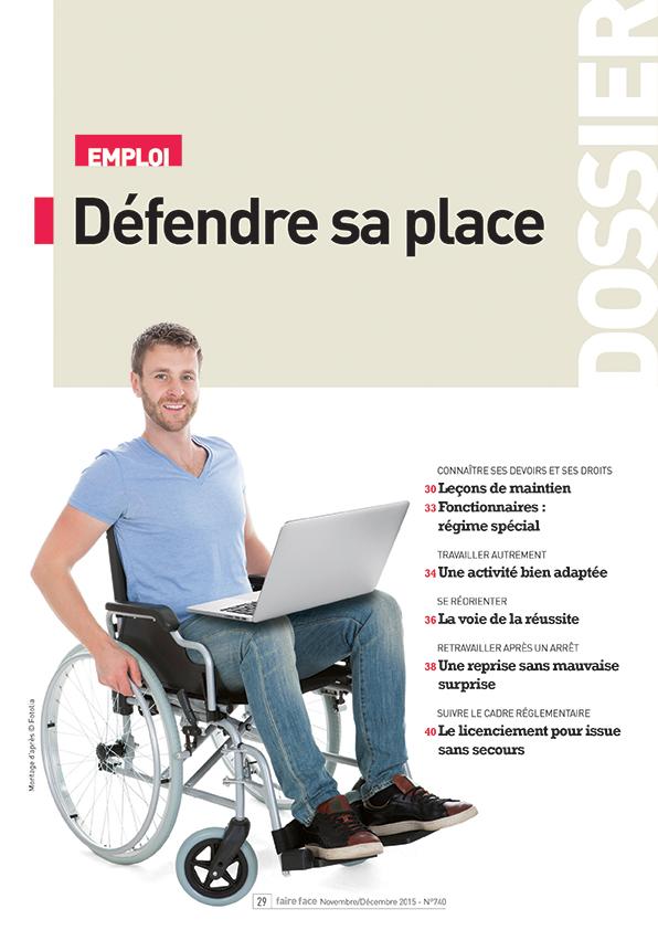 Couverture Dossier emploi défendre sa place Magazine Faire Face nov dec 2015