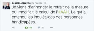 Ségolène Neuville a confirmé le retrait de cette mesure, sur son compte Twitter.