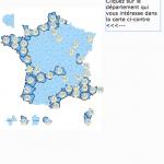 La carte des plages accessibles. Capture d'écran du site Handiplage