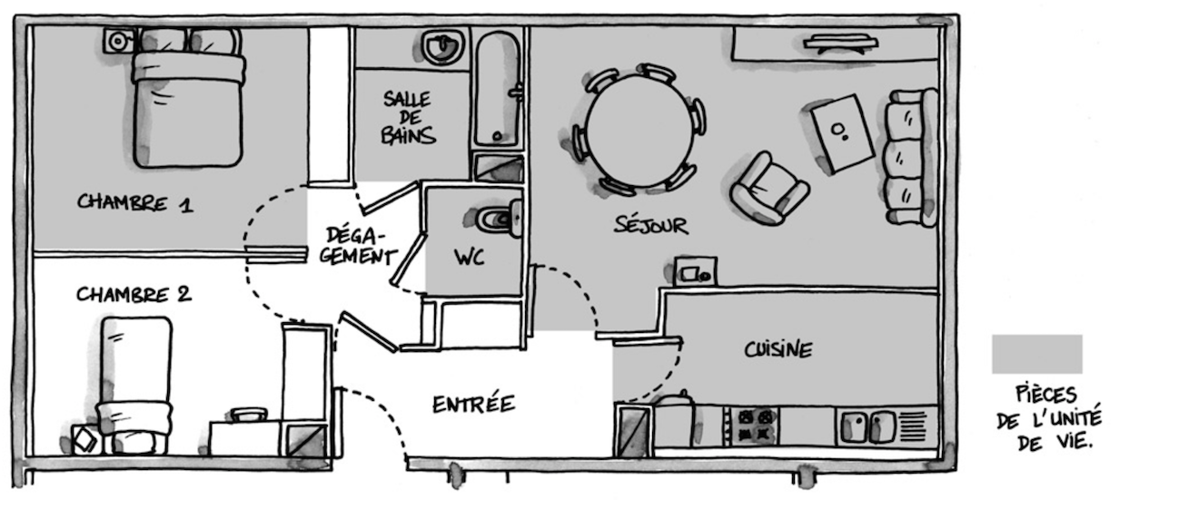 Dans Un Appartement Accessible, Une Personne En Fauteuil Doit Pouvoir  Accéder à Chaque Pièce De Lu0027unité De Vie. ©  Http://www.accessibilite Batiment.fr/